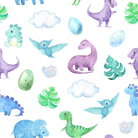 Seamless pattern with  cute little Dinosaurs characters. Cartoon childish prehistoric reptile print in blue, green, violet colors. Perfect for baby kid fabric textile and wrapping paper Reklamní fotografie