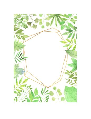 floral geometric frame with delicate leaves, branches in green colors. Bright modern trendy template perfect for summer wedding invitation and card making