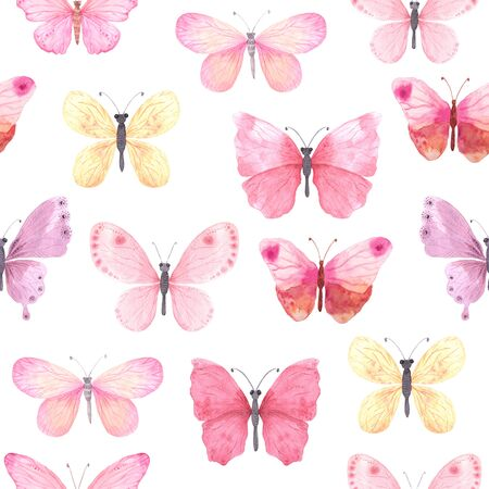 Seamless pattern with pink bright  butterflies on white backdrop. Hand painted butterflies design perfect for fabric textile or scrapbooking