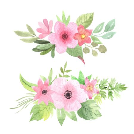 Watercolor floral bouquet with pink flowers, leaves and branches. Isolated delicate composition on a white background. Romantic florals clip art pefect for wedding invitation and card making