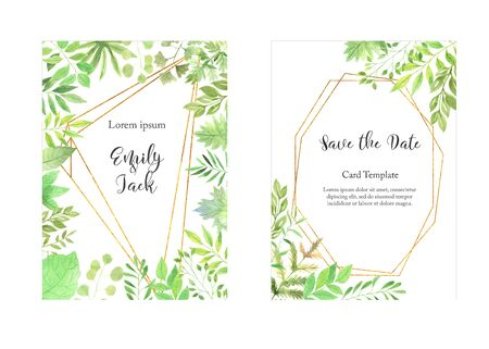 Watercolor floral geometric frame with delicate green leaves, branches. Bright modern trendy card templates perfect for summer wedding invitation and postcard making