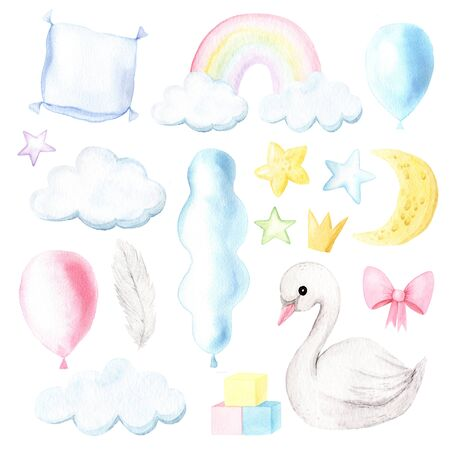 Watercolor hand painted newborn baby elements. Cute cartoon swan, rainbow, balloon, star and moon illustration. Isolated birthday clipart set perfect for little girls and boys design Reklamní fotografie