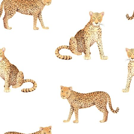 Watercolor seamless pattern with wild jungle leopard animals on white background. Hand painted exotic realistic backdrop with tropical cat perfect for fabric textile and wrapping paper
