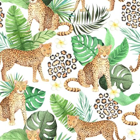 Watercolor seamless pattern with wild jungle leopard animals and green leaves, plumeria flower. Hand painted exotic realistic backdrop with tropical cat perfect for fabric textile and wrapping paper