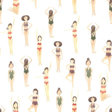 Seamless pattern with people swimming in the sea inspired by summer vacation. Modern trendy backdrop with girls swimmers in bikini perfect for fabric textile or wrapping paper Reklamní fotografie