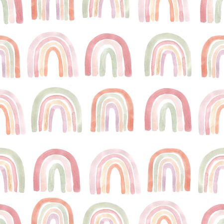 Watercolor seamless pattern with freehand aesthetic rainbows in warm pastel colors. Abstract modern collage background perfect for baby fabric textile, wrapping paper and other projects Reklamní fotografie
