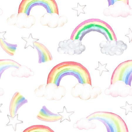 Watercolor seamless pattern with colorful rainbow, clouds and stars. Cute childish background perfect for fabric textile and nursery wallpaper.