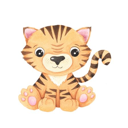 Watercolor cute cartoon tiger animal character isolated on white. Hand painted exotic tropical little baby cat perfect for nursery print poster design and baby shower card making Reklamní fotografie