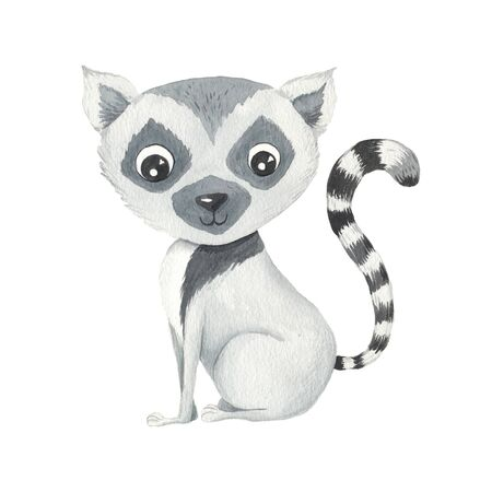 Watercolor cute cartoon lemur animal character isolated on white. Hand painted exotic tropical little baby cat perfect for nursery print poster design and baby shower card making Reklamní fotografie