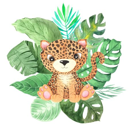 Watercolor cute cartoon leopard animal character with green tropical palm and monstera leaves. Hand painted little baby cat perfect for nursery print poster design and baby shower card making