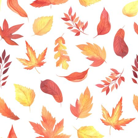 Seamless pattern with hand painted watercolor autumn leaves, branches inspired by forest. Romantic floral background perfect for fabric textile, vintage paper or scrapbooking