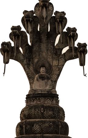 idolatry: Old 7 heads snake Buddha Stock Photo