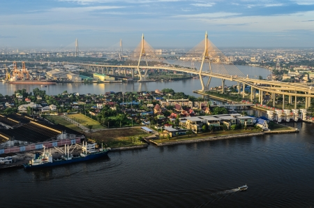 bhumibol: View of the Bhumibol bridge and Cargo ship