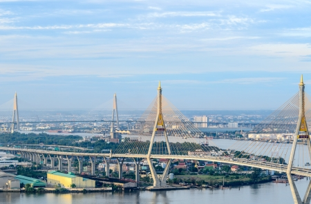 bhumibol: Good Morning of Bhumibol Bridge Stock Photo