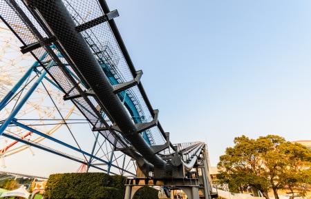 SHIRAHAMA, OSAKA, JAPAN - JANUARY 01  Roller coaster rails in Amusement Park on Januray 01, 2014 in Japan