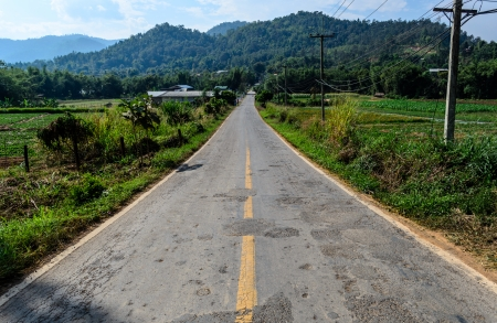 non marking: Cracked Mountain Road in Thiland Stock Photo
