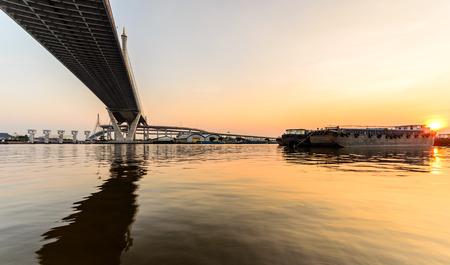 bhumibol: Bhumibol Bridge With Sunset, Bangkok