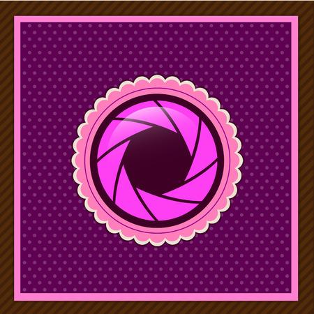 Vector camera shutter apertures, pink color Illustration