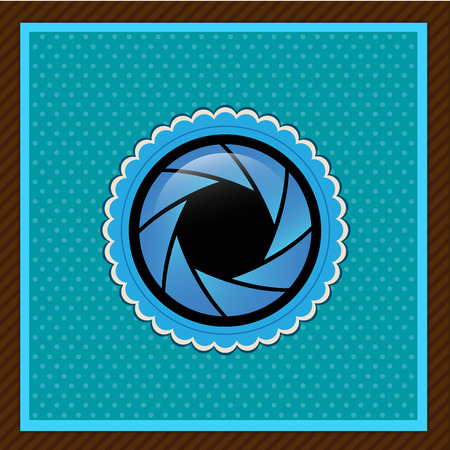Vector camera shutter apertures, blue color Illustration