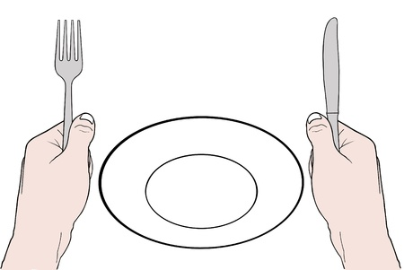 holding a knife: illustration of hands holding fork and knife with empty plate