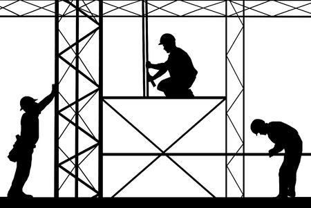 team worker: construction site illustration Illustration