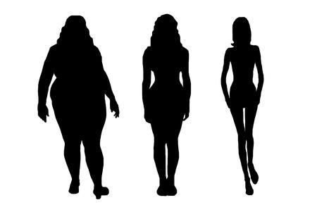 mujer gorda: siluetas de mujeres aisladas en blanco Vectores