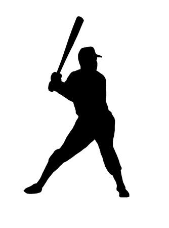 野球選手のシルエット  イラスト・ベクター素材