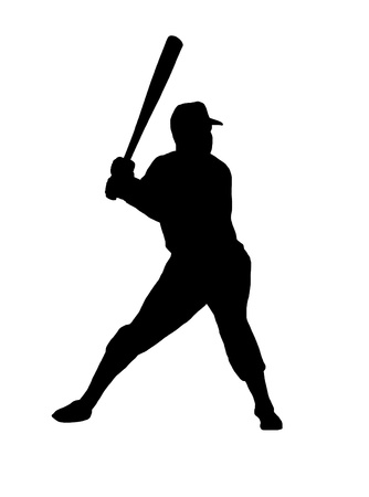 batter: baseball player silhouette