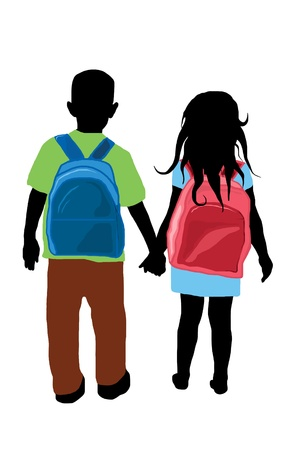 person walking: boy and girl silhouettes with backpacks  Illustration