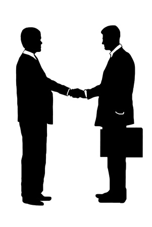 businessmen shaking hands silhouettes  Stock Vector - 10493088