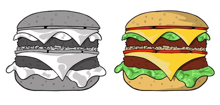 black sesame: illustration of color and black and white hamburger