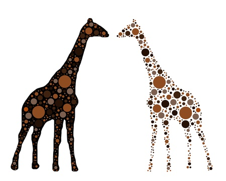 dotted giraffe isolated on white
