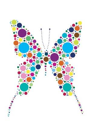 butterfly abstract: mariposa de puntos aislados en blanco