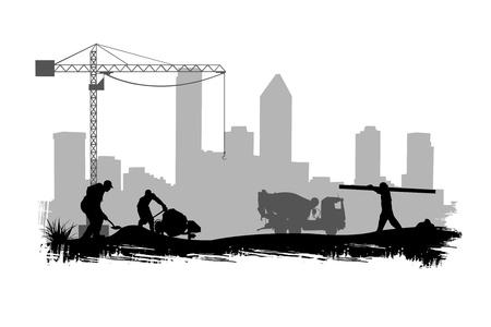 bouwkraan: bouwvakkers op het terrein illustratie