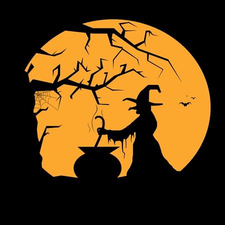 gruselig: Abbildung einer Hexe mit Mond im Hintergrund