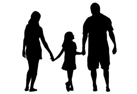 白で隔離される家族のシルエット  イラスト・ベクター素材