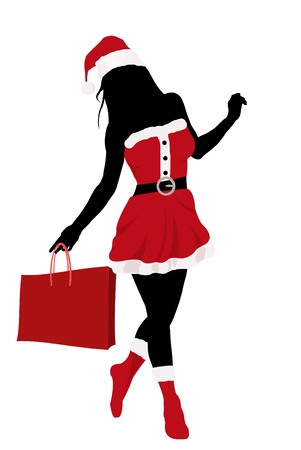 Christmas girl silhouette with bag  Illustration