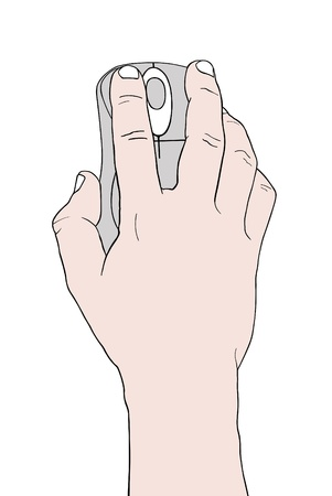 computer graphic design: illustration of hand holding a mouse Illustration