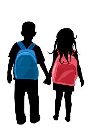 niño con mochila: volver a siluetas de niños de escuela