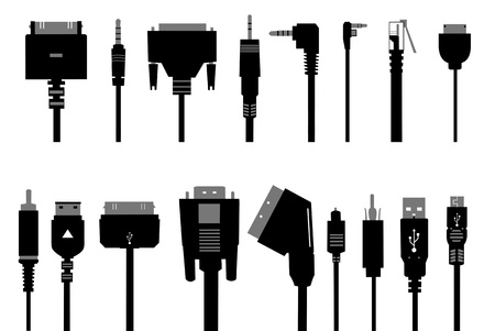 audio electronics: different cables isolated on white Illustration