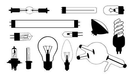tubos fluorescentes: collage de bombilla Vectores