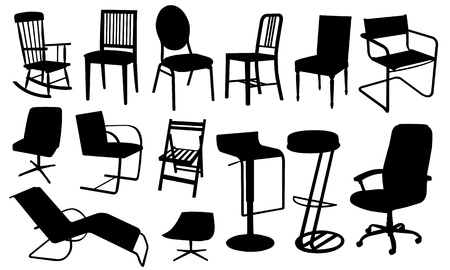 chair silhouette collage Stock Vector - 10941811