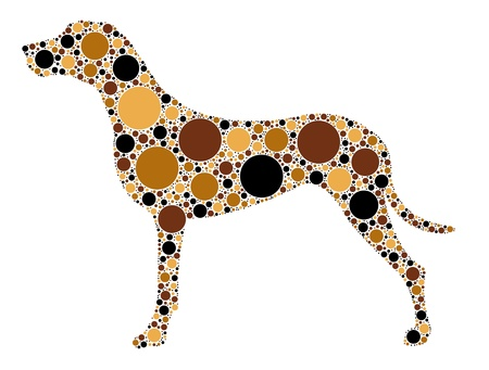 dog: dotted dog silhouette