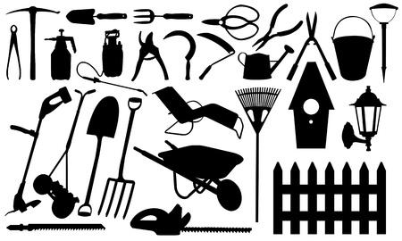 carretilla: collage, herramientas de jardinería Vectores