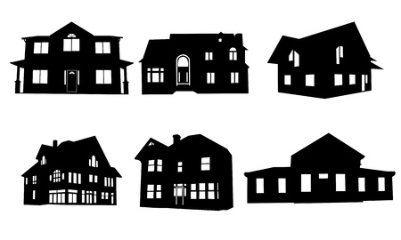 house illustration: house silhouettes collage