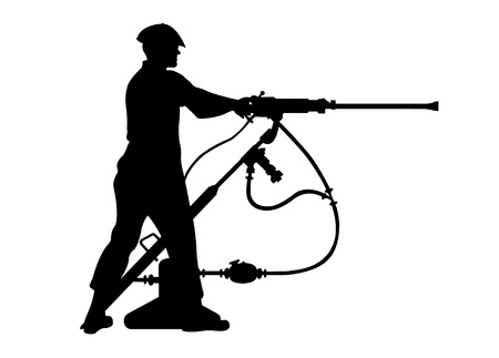silhouette of man operating a jackleg drill Vector