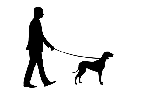 dog walk: silhouette of man holding dog