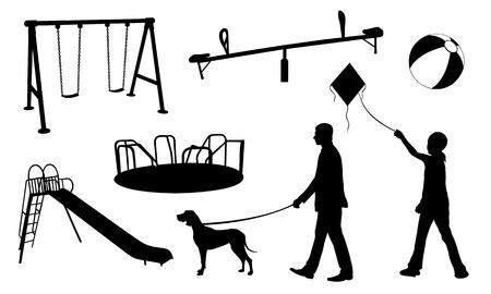 遊び場要素のコラージュ  イラスト・ベクター素材
