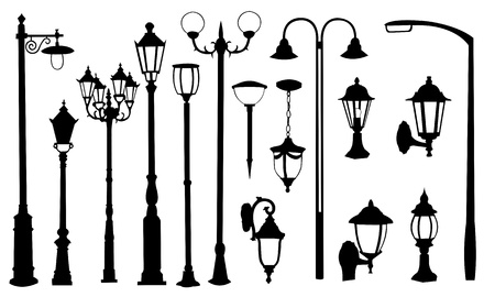 lamp silhouette: street light collage