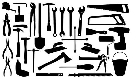 herramientas de construccion: herramientas aisladas en blanco